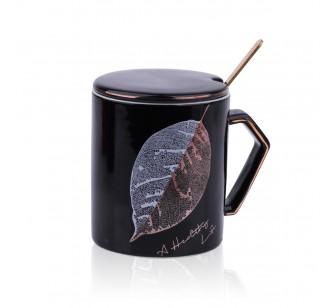 Mug avec couvercle noir